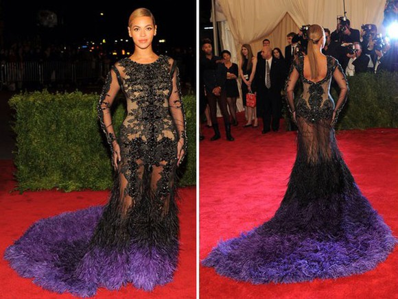 beyoncé gown met gala purple feathers