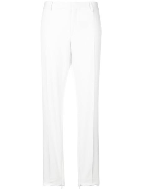 Saint Laurent women white silk wool pants