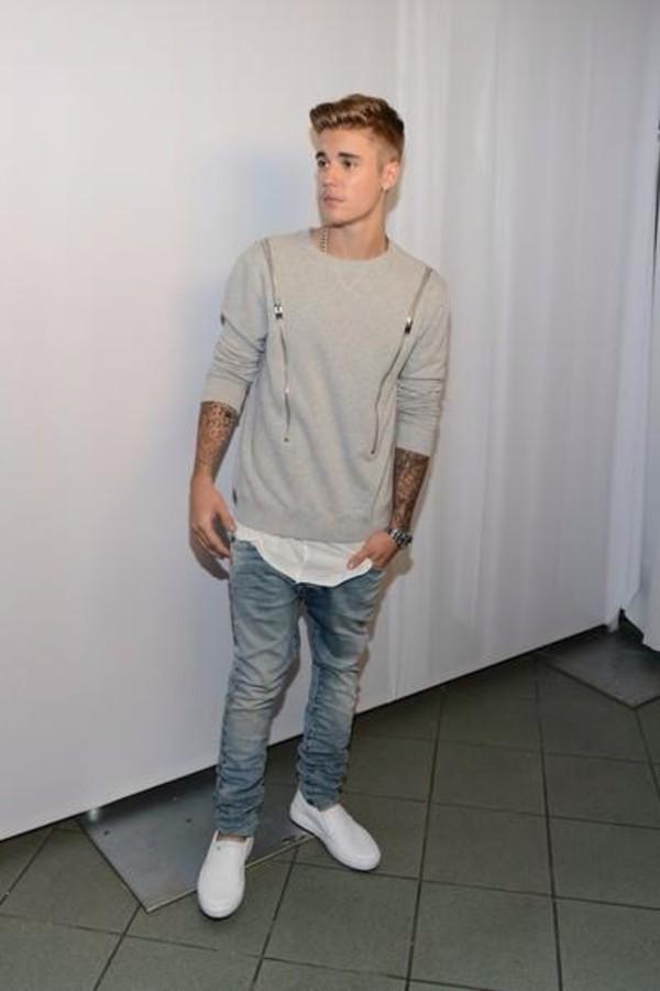 grey justin justin bieber zip zip menswear sweater