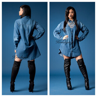 india westbrooks denim shirt oversized shirt dress thigh high boots dress shoes black girls killin it