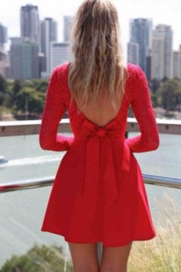 dress red bow dress lace