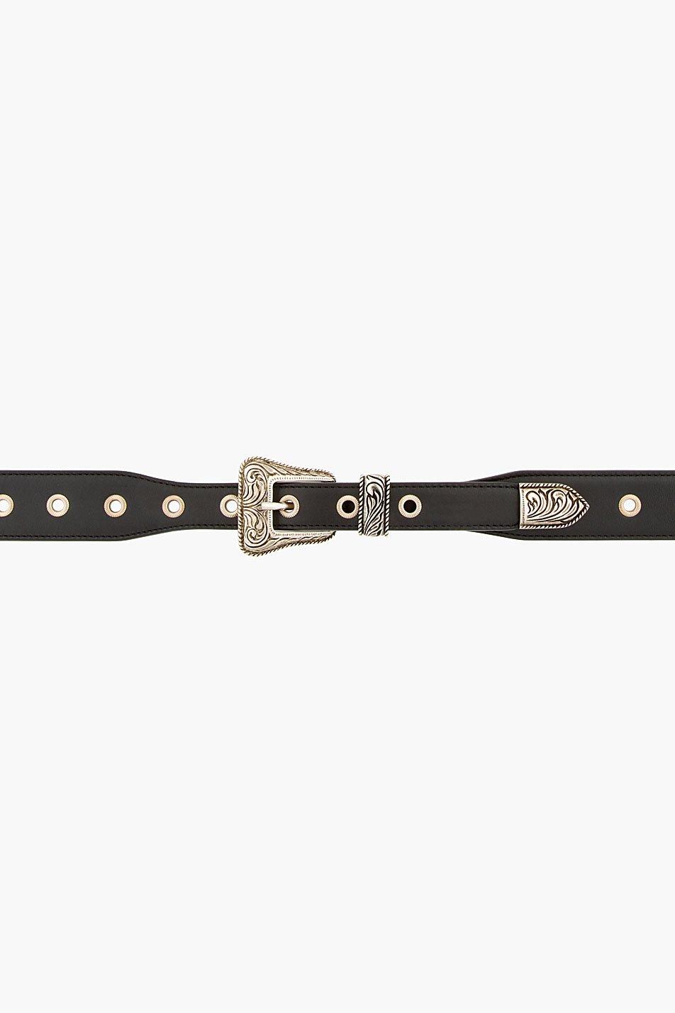 Saint laurent black western detail leather belt