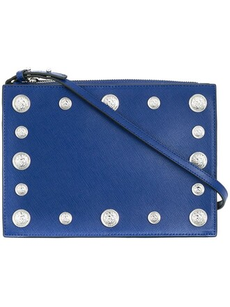 studded lion women bag shoulder bag blue