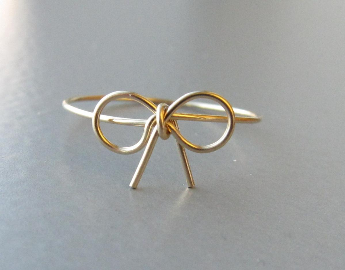 14K Gold Bow Ring, Gold Wire Bow Ring, Bow Ring, Bow Ring on Luulla