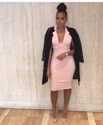 dress light pink pastel pink pastel cleavage watch angela simmons melanin beauty zipper dress zipped skirt v neck dress plunge v neck v neck sexy sexy dress pumps black jacket studded jacket