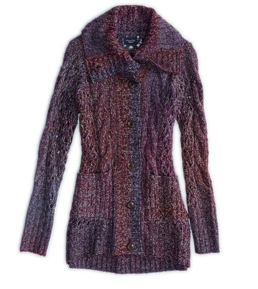 sweater knitwear american eagle coat sweater coat purple sweater coat purple coat
