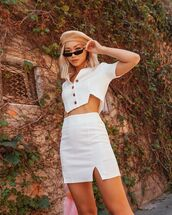 skirt,top,crop tops,2 piece skirt set,sunglasses,hat