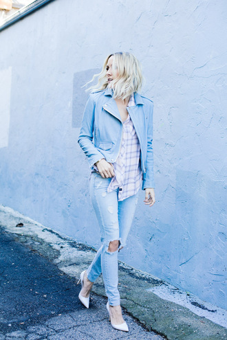 damsel in dior blogger shirt light blue ripped jeans perfecto