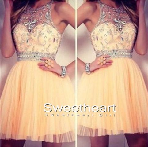 Charming round neckline short prom dresses, homecoming dresses