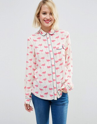 blouse cute flamingo pink white collar peter pan collar blue buttons