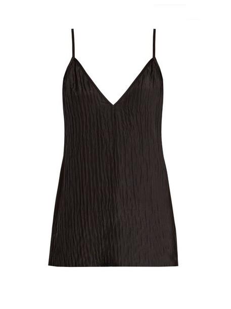 Raey - V Neck Crinkled Silk Cami Top - Womens - Black