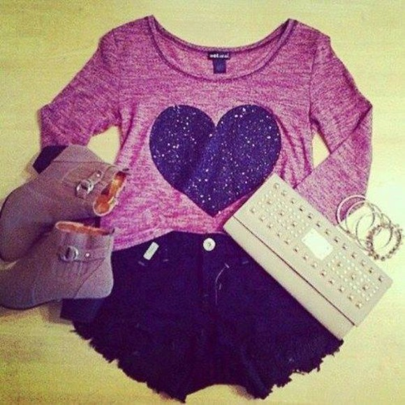 shirt long sleeved black heart purple boots heeled boots clutch cream silver bracelets bangles shorts glitter
