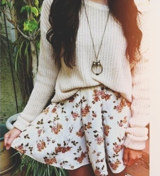 02fb4fd0a7 sweater, white, floral, skirt, circle skirt, outfit, cute, white ...