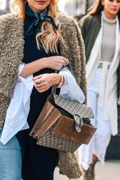 lefashion,blogger,coat,sweater,bag,gucci bag,gucci,silk scarf,fuzzy coat,tumblr,teddy bear coat,dionysus,chain bag,beige coat,fluffy,scarf,streetstyle
