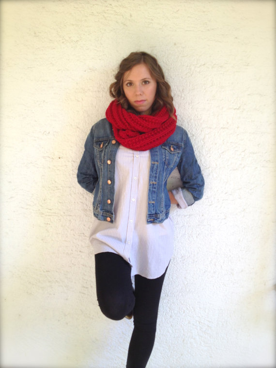 Red knit scarf rib knit infinity scarf chunky circle by sascarves
