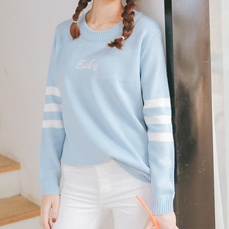sweater cute kawaii fall outfits baby blue long sleeves fashion style winter sweater it girl shop