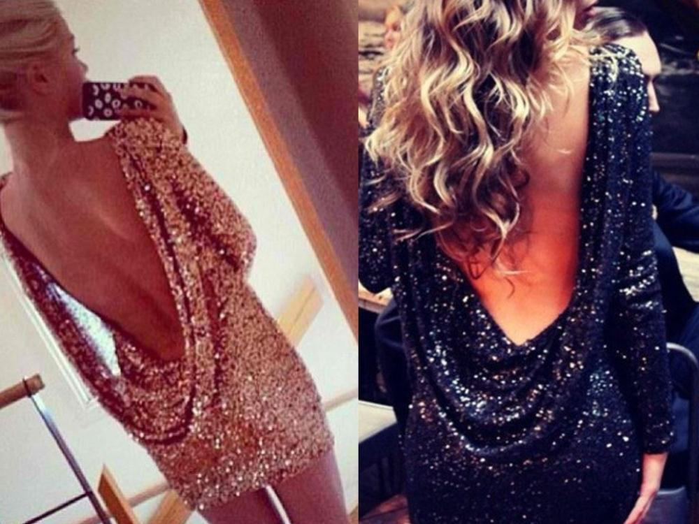 free shIpping .Fashion major Halter back sequin dress open back long sleeve backless bodycon party dress 5 colors-in Apparel & Accessories on Aliexpress.com