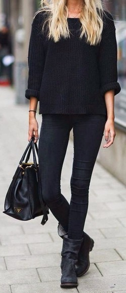 jeans black black jeans jumper black boots sweater fashion fall sweater fall outfits winter sweater knitwear boots style streetstyle