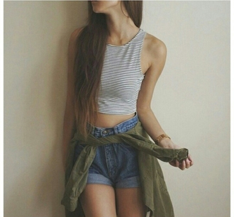 top striped top green jacket army green jacket high waisted shorts clothes style blogger trendy fashionista casual on point on point clothing skinny thin fashion inspo cute outfits jacket