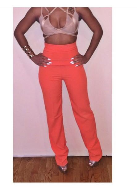 pants orange hippy trousers high waisted pants