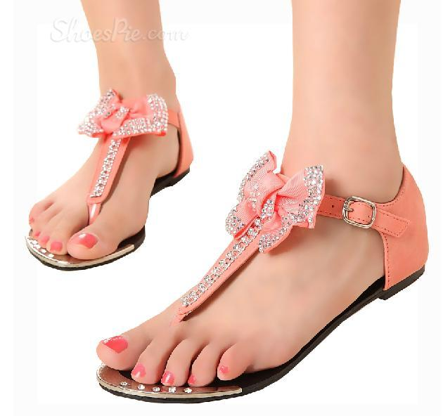Sweet Pink Flat Heels Girls Sandals with Bow