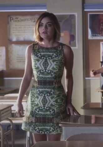 dress green print lucy hale aria montgomery pretty little liars pattern green dress