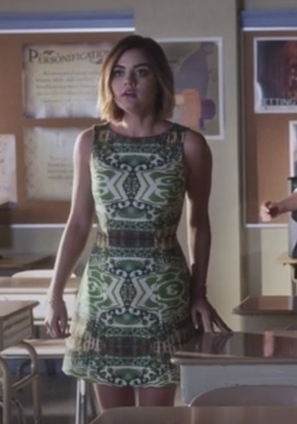 dress,green,print,lucy hale,aria montgomery,pretty little liars,pattern,green dress