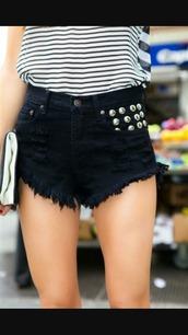 shorts,black shorts,black,summer,gold tacks,tacks,gold