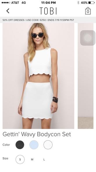 dress white dress scalloped two piece dress set