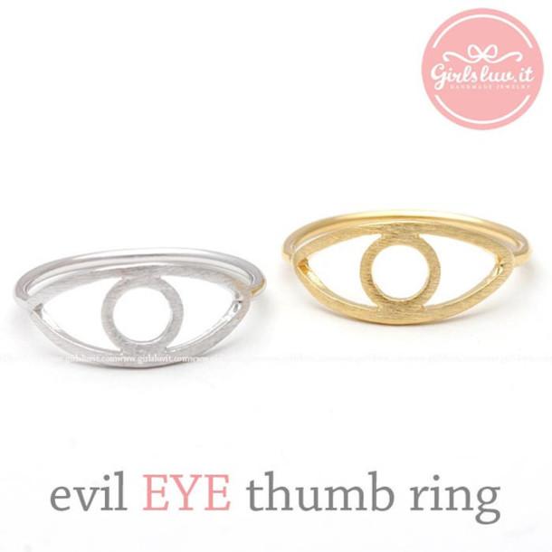 jewels ring evil eye ring thumb ring unique