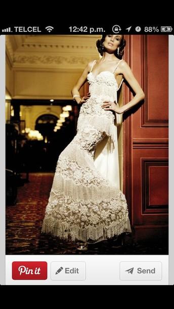 dress white vintage embellished