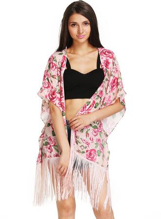 romantic cardigan kimono cute boho hippie vintage roses pink floral shorts fringes