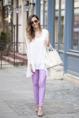 let's talk about fashion ! blogger shirt pants shoes sunglasses bag white top white bag purple pants