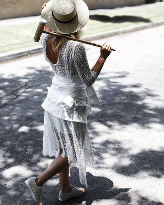 dress tumblr midi dress white dress white lace dress lace dress three-quarter sleeves hat sun hat straw hat sneakers nude sneakers