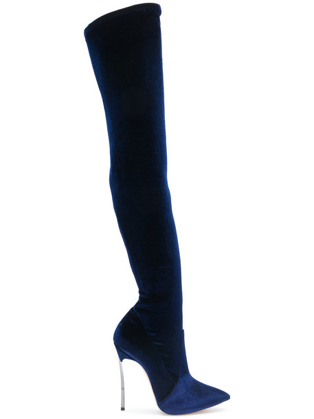 thigh boots women leather blue velvet shoes