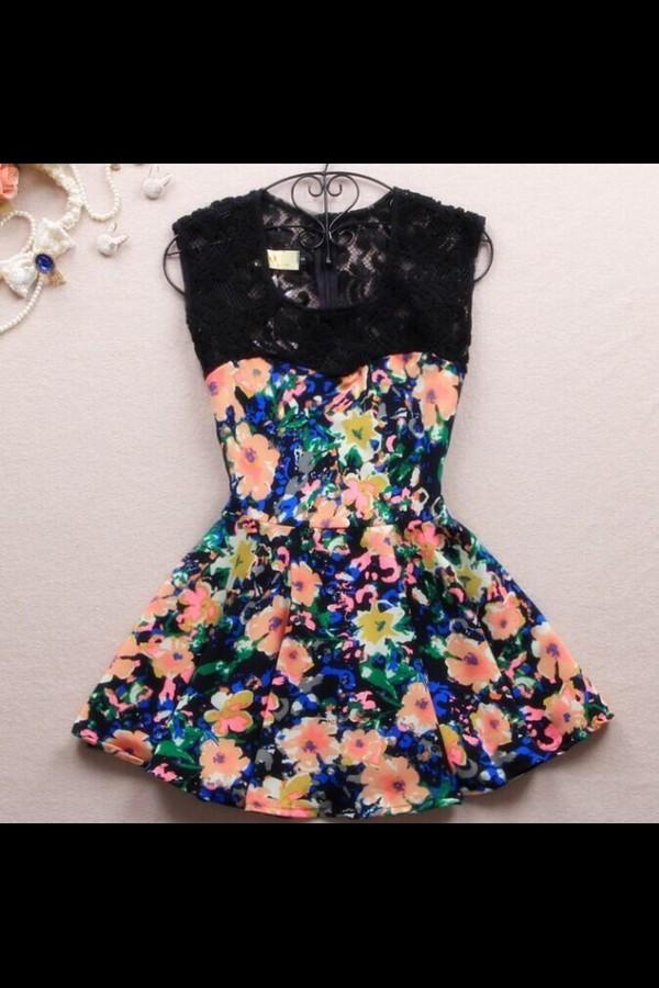 dress black lace blue floral short dress cute dress sleeveless