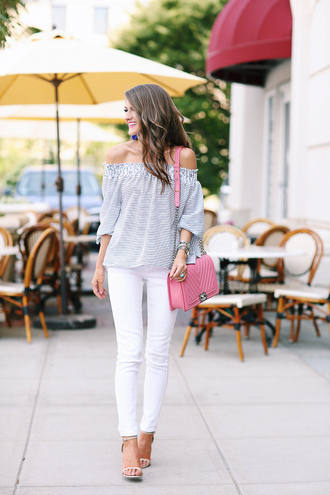 southern curls and pearls blogger pants bag shoes jewels make-up off the shoulder pink bag chanel white pants white jeans sandal heels boy bag striped off shoulder top stripes striped top off the shoulder top chanel bag shoulder bag chanel boy jeans sandals ankle strap heels high heel sandals spring outfits