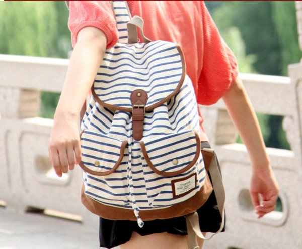 bag backpack fashion striped bag retro stripe backpack