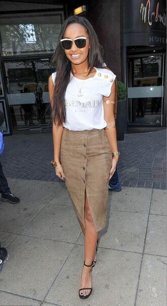skirt leigh-anne pinnock midi skirt slit skirt suede skirt button up skirt