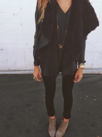 shearling jacket waterfall jacket black jacket suede jacket gold necklace suede boots black jeans fall outfits fall jacket gold watch trendy fashion black t-shirt oversized