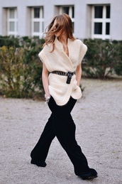 maja wyh,blogger,shirt,pants,shoes,wide-leg velvet pants,black wide-leg velvet pants,black velvet pants