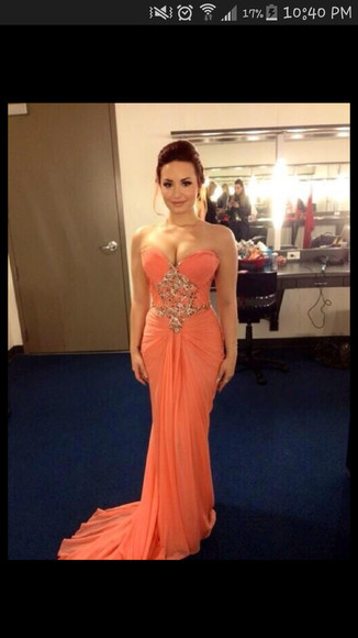 coral dress demi lovato sweetheart neckline chiffon dress crystals mermaid prom dresses