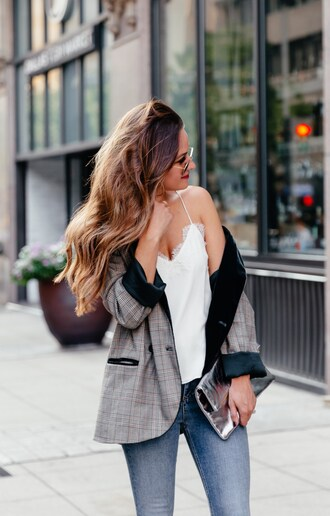 jacket blazer check blazer grey blazer plaid plaid blazer top white top camisole denim jeans blue jeans clutch