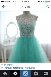 dress,turquoise,turquoise dress,pretty,blue dress,light blue,white lace dress