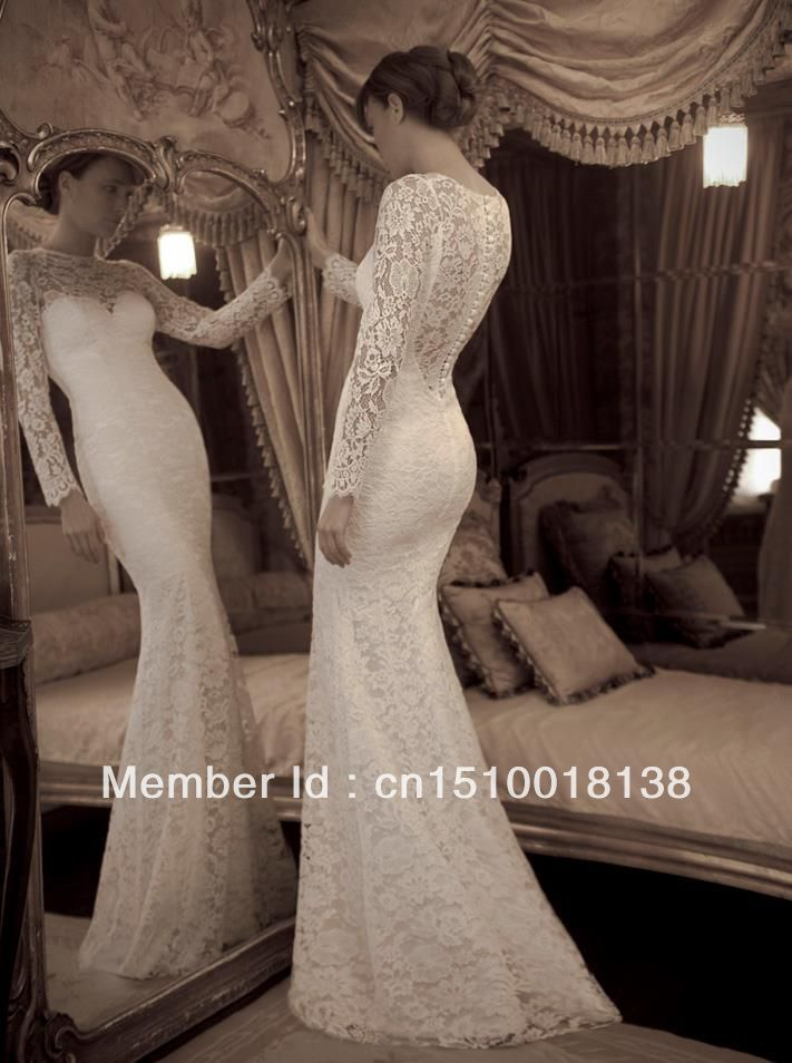 Fashion 2014 Mermaid Lace Wedding Dress Long Sleeve SeeThrough ...