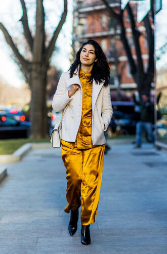jacket yellow shirt tumblr white jacket pants satin satin shirt satin pants pajama style shirt matching set yellow yellow pants boots black boots ankle boots pointed boots
