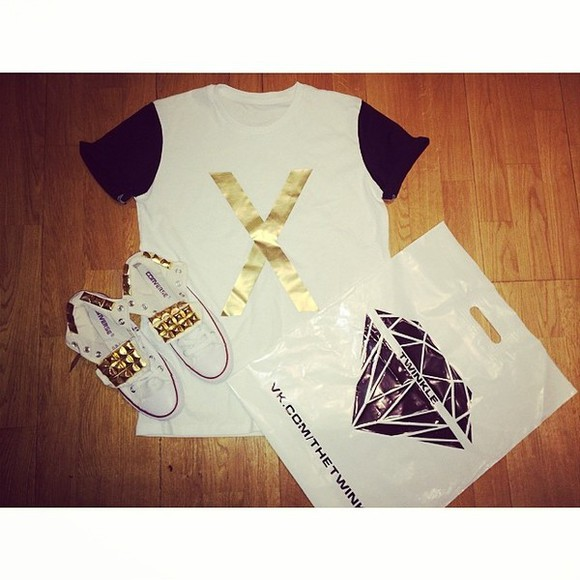black stud gold white twinkle converse diamond t-shirt x