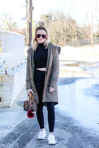 kim tuttle the knotted chain - a style blog by kim tuttle blogger coat jacket shirt tights shoes sunglasses bag