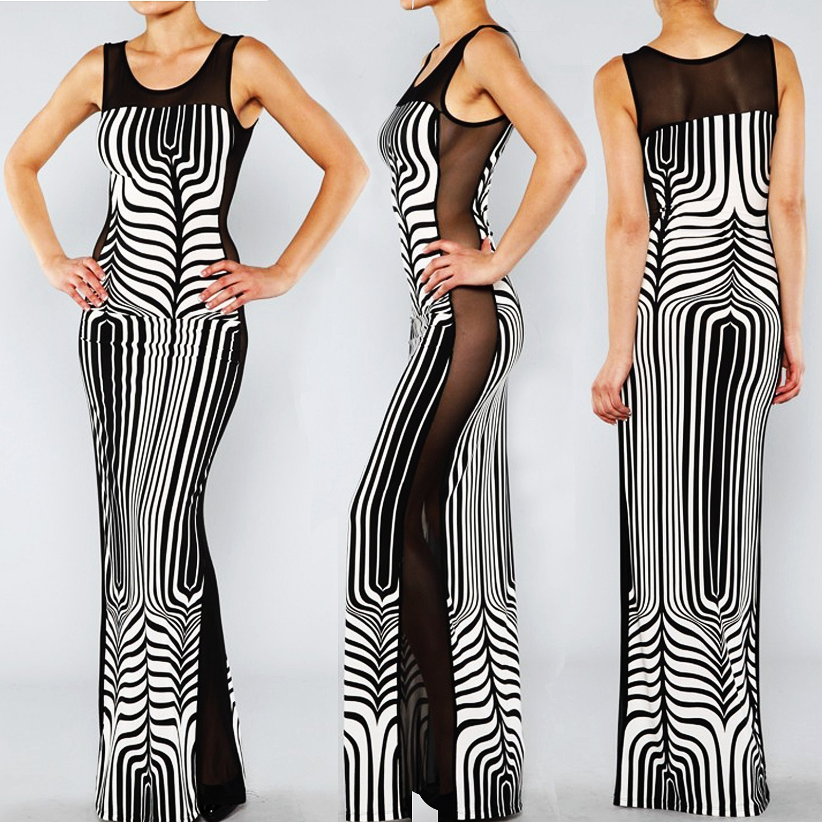EXOTIC CHEVRON ZEBRA Art Print Sheer MESH Black White Sexy BodyCon Maxi Dress L - Dresses