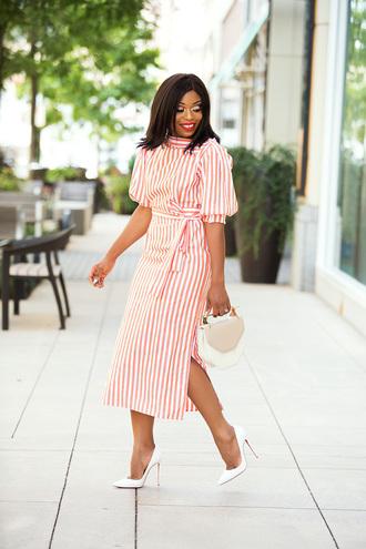 jadore-fashion blogger dress bag shoes hat make-up pumps high heel pumps striped dress midi dress summer dress summer outfits